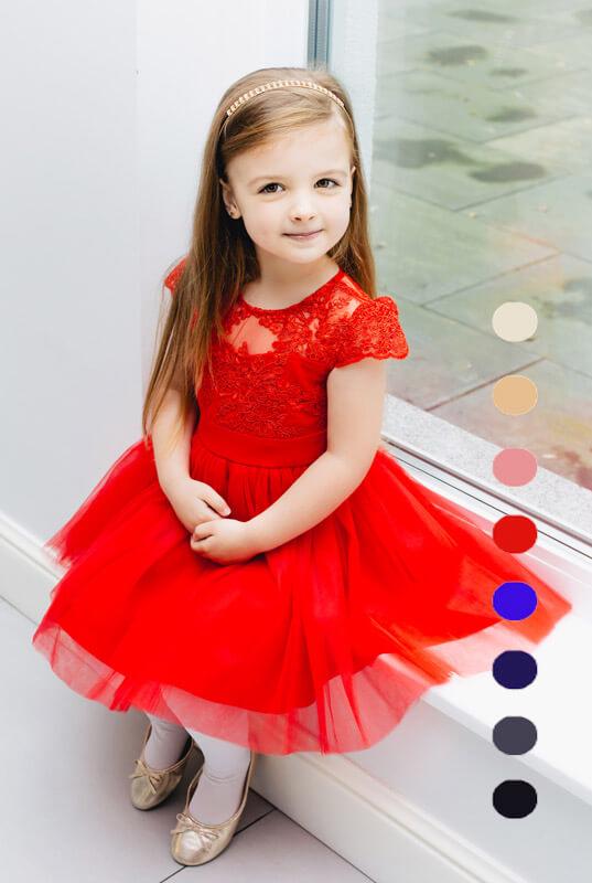 646b7777abfbc7 LaKey Hoppe sukienka koronkowa z tiulem dla dziewczynki. Dla dzieci ...